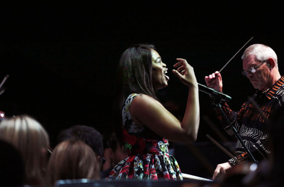 Pretty Yende performs at the Old Mutual National Choir Festival in Ellis Park.  Picture MARIANNE SCHWANKHART